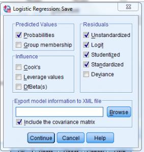 logit save 283x300 - Hướng dẫn hồi quy nhị phân Binary Logistic trên spss